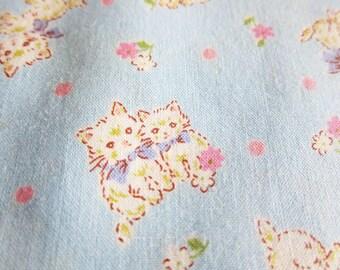 Japanese Fabric - Sweet Kittens on Baby Blue - Half Yard - Kokka Fabric From Japan LIMITED YARDAGE