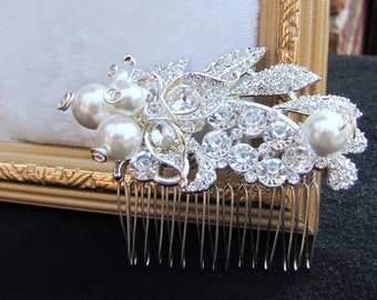 Bridal pearl hair com, leaf rhinestones overlay South sea pearls, a small corsage inspired wedding head piece - Emma