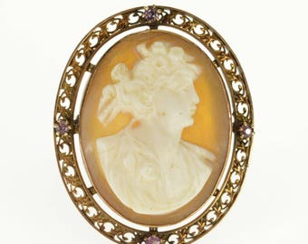 10k Carved Shell Cameo Bust Ornate Scroll Pink Topaz Pin/Brooch Gold