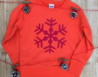 Organic Snowflake Sweatshirt - orange/red