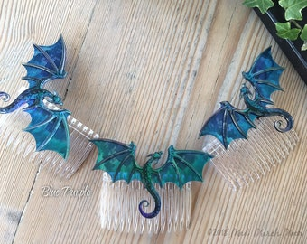 Dragon Hair Combs, Various Colours available, iridescent shimmering acrylic and acetate dragons, handmade hair accessory.