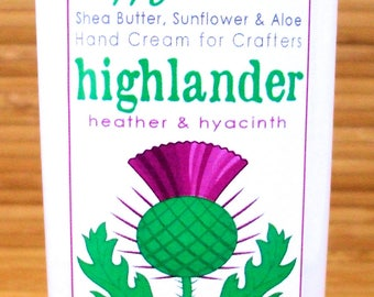 Scented Shea Butter Hand Lotion - Highlander Heather Hyacinth Fragrance Outlander Hand Cream for Knitters Happy Hands Knitting