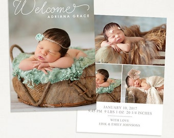 Birth Announcement Template for Photographers - 5x7 Photo Card - Sweet Baby 26, Instant Download