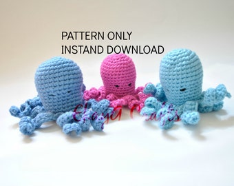 Crochet Pattern, One Piece No Sew Small Octopus