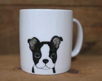 Hand painted animal mug cup - Cute mug cup -Boston Terrier mug cup