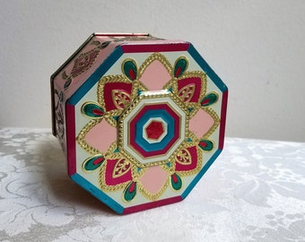 Vintage Tin Embossed Metal Box, Teal Blue Fuchsia Pink Gold Off White, Eight Point Star Medallion, Hexagon Metalware Storage Container