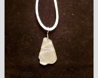 SEA GLASS PENDANT –- White Maine Sea Glass In A Wire-Wrapped Sterling Silver Pendant -– Made In New Hampshire