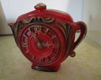 Red Teapot Clock Wall Pocket Vase Planter Wall Decor