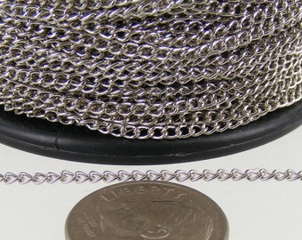 100ft. spool of Rhodium Plated little curb chain - 1.5mm Unsoldered link