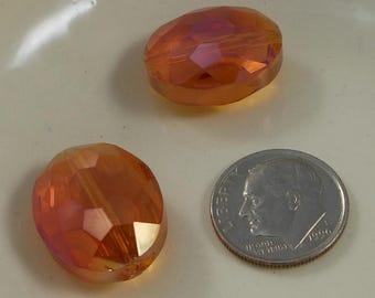 Large Faceted Oval Crystal Beads 20x16mm Peach Blush AB (Qty 2) PH20x16OVL-PchBlAB