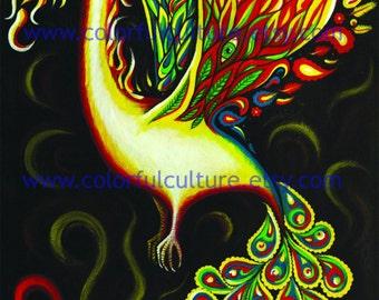"Phoenix Bird - Ave Fenix - Original Art by Karina Gomez - Giclee Print on Matte Paper - 8.5"" x 11"" or 11"" x 17"""