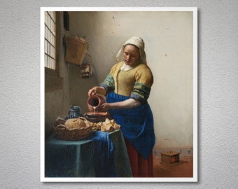The Milkmaid by Johannes Vermeer, 1658 - Poster Paper, Sticker or Canvas Print / Gift Idea