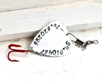 GPS Coordinates Fishing Lure, Latitude Longitude Gift Ideas, Father of the Bride Gift, Father of the Groom Gift, Groomsmen Gift Ideas