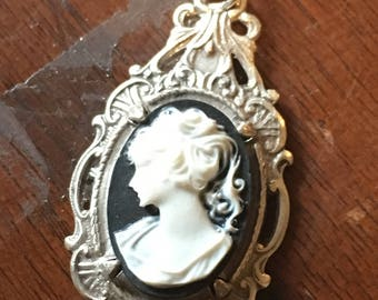 Black and White Cameo Necklace in Ornate Silver Setting - Great Gift!