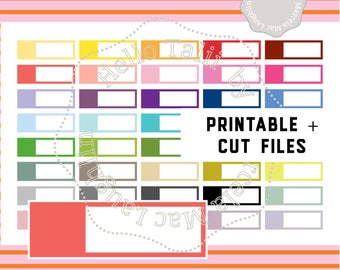 BLANK LABEL Printable Stickers + CUT files- 1.50x 0.4 inches Labels Planner Stickers 40 Colors Editable x Erin Condren Happy Planner Filofax