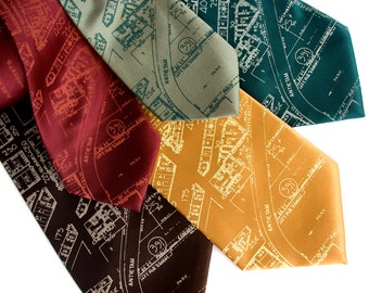 """Detroit map necktie, """"Eastern Market"""" tie. Made in Michigan. Silkscreen design. Your choice of colors. Choose standard or narrow width."""