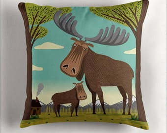 The Magnificent Moose - Children's Cushion Cover / Throw Pillow Cover including insert - Animal art  by Oliver Lake - iOTA iLLUSTRATiON