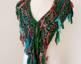 sale recycled silk chiffon  tattered scarf dark bottle green pink,red, beige
