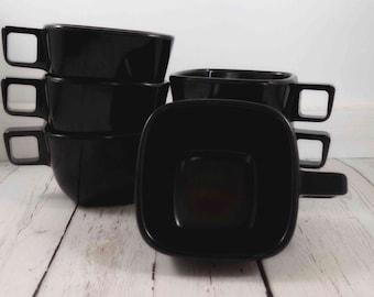 Black Melmac Cups,melamine,Brookpark,Modern Design,Melmac Cups,Black Square,cup,Tea,Coffee,retro cups,Brookpark melmac,cups,diner,plastic