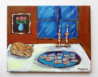 Sabbath Art, Shabbath Candlesticks, Funny Jewish Gift, Original Painting, Gefilte Fish, Shabbat Painting, Judaica Wall Art, Jewish Food