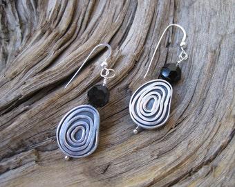 SALE:  Sterling Eternal Circle Jet Swarovski Earrings