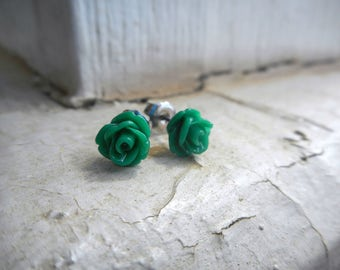 ABSINTHE ROSES. Tiny green emerald rose. titanium post stud earrings little studs. Gift for her under 10 . gift wrap. gift box. sweet dainty