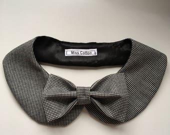 Detachable elegant Peter Pan Collar Necklace with bow.Round Collar Bib retro inspired with Pillion.Detach collar
