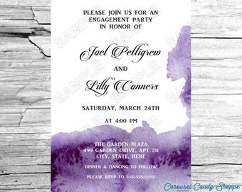 Violet Watercolor Bridal Shower Engagement Party Invitations DIY Printable PDF File
