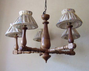 ANTIQUE FRENCH WOODEN Provincial five branch Chandelier with shades