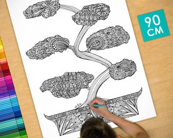 Poster / Poster deco coloring (90cm) Bonsai - coloring for adults