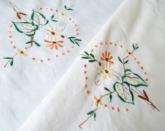 Vintage linen tablecloth, machine embroidered floral and cream square tablecloth. English linen floral tablecloth for an afternoon tea party