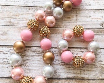 Pink and Gold Chunky Necklace, Princess Bubblegum Necklace, Valentine's Day Chunky Bubblegum, Gold Bubblegum Necklace, 1st Birthday Girl