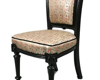 Antique Early 19th Century Black Occasional Chair fully restored and reupholstered