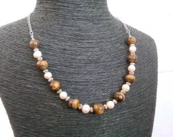 Nepalese freshwater pearls and Tiger Eye necklace
