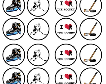 Ice Hockey Edible Wafer Rice Paper Cake Cupcake Toppers x 24 PRECUT