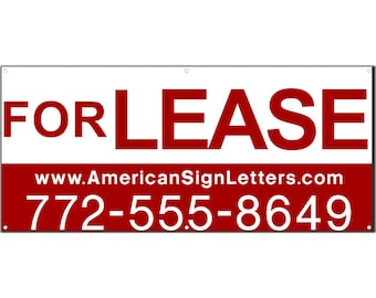 For Lease with Phone/Website Vinyl Banner Single Sided with Grommets