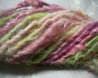 Handspun Hand Dyed Curly Border Leicester Wool Bulky Art Yarn in Spring Pink and  Lime Green by KnoxFarmFiber for Knit Crochet Weave