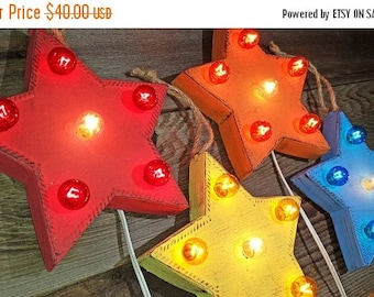 "ON SALE 9"" Whimsical Star - Rustic Metal Vintage Inspired Marquee Sign Light. 23 Color Options!"