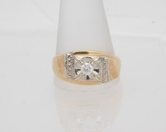 0.25 Carat Man's Round Cut Diamond Solitaire Ring 14K Yellow Gold