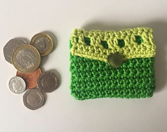 Coin purse small crochet coin purse in green makes cute present