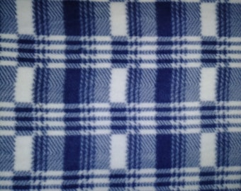 Blue Plaid Fleece Fabric