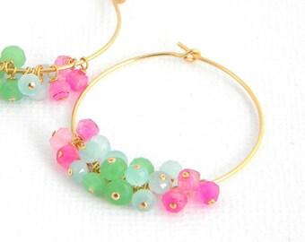 Gold Pastel Pink Aqua Blue Pale Green Chalcedony Hoop Earrings
