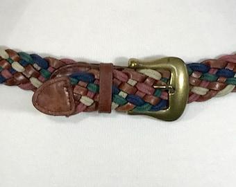 Woven Leather Belt, 70s Woven leather belt, County Seat belt Brass buckle belt, Multi colored leather belt