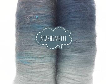 Spinning fiber - Carded batt - Merinos, silk, firestar - 50 gr - Stashinette - Blue gradient