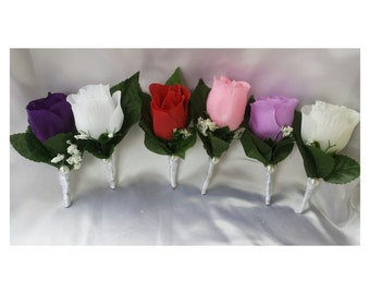 Red Boutonniere White boutonniere Pink boutonniere Purple Boutonniere Lavender boutonniere Cream boutonniere Wedding boutonniere