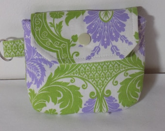 Fabric coin purse coin pouch fabric coin wallet lilac  keychain pouch card holder change purse stocking stuffer