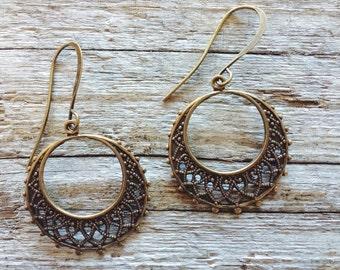 Earrings, Antiqued Brass Ornate Hoops
