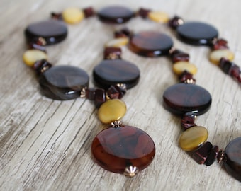 50% OFF CLEARANCE / Chunky Brown Agate Necklace / Red Necklace / Brown Necklace / Chunky / Big / Gifts For Her / Gifts for Women