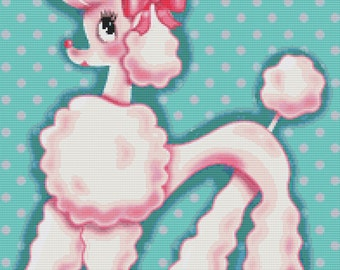 Cross Stitch Kit By Fluff ' Pixie Poodle polka dot- by Fluff' - Pink Dog Tattoo NeedleCraft