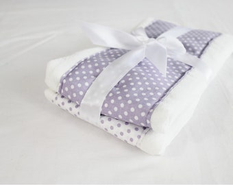 Purple Polka Dots Baby Burp Cloths - Set of 2